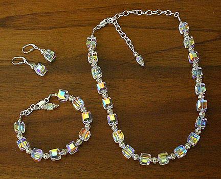 Swarovski Crystal 10mm Cube Necklace Set Crystal Ab