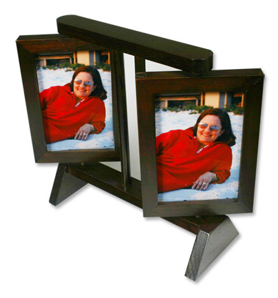 Revolving Wood Double Photo Frame